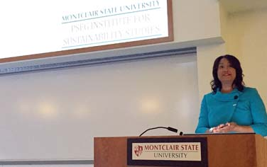 Deputy Commissioner Catherine Starghill speaks with the PSEG Institute for Sustainable Studies at Montclair State University.